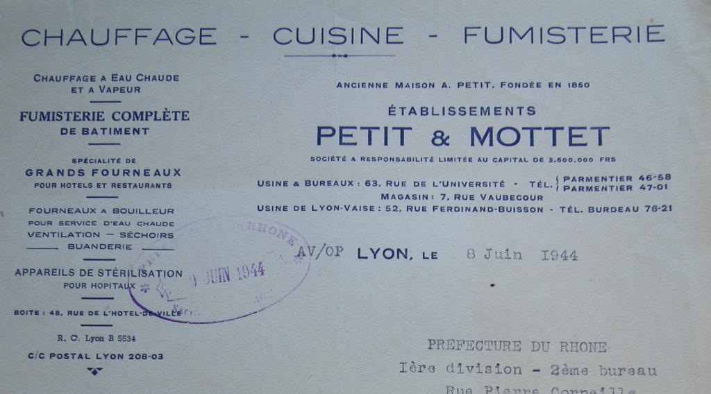En tête industrielle d'une lettre, correspondance des Ets Petit & Mottet avec la préfecture, 1944 - 994W419 - ADR