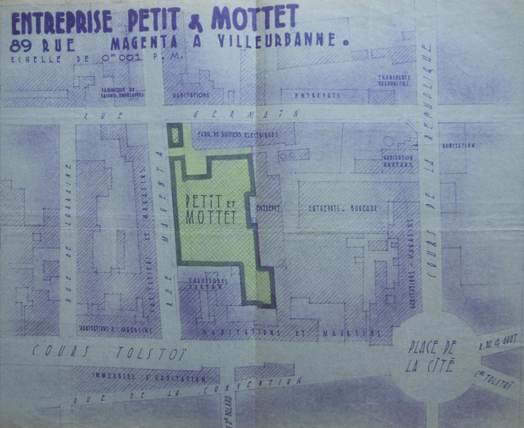 Plan de localisation des Ets Petit & Mottet, rue Maggenta à Villeurbanne en 1945- 994W419 - ADR