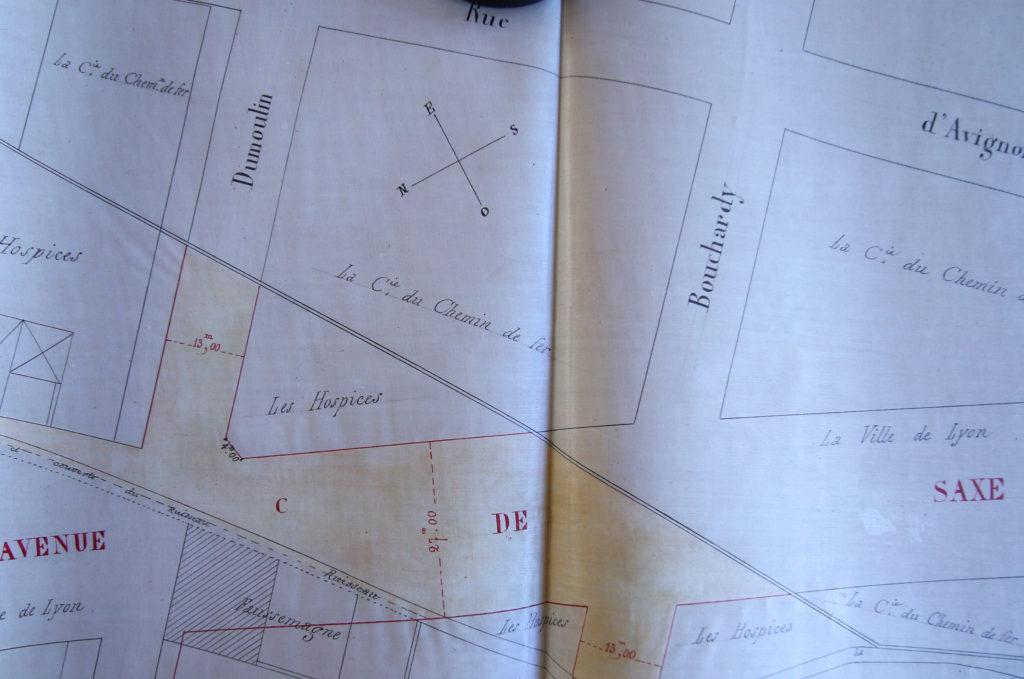 Plan de Prolongement de l'Avenue de Saxe en 1877 , Echangge de terrains entre les Hospices civils et la ville de Lyon- 321 wp 197 - AML
