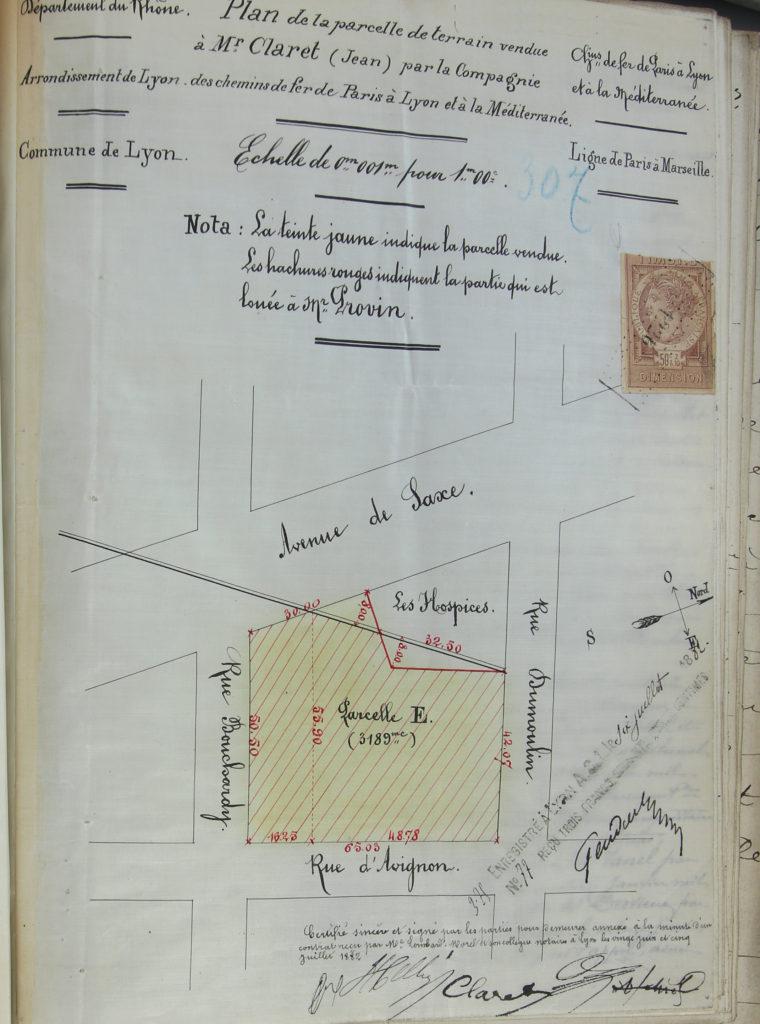 Plan d'un terrain vendu par la Cie du PLM à Claret devant maitre Lombard Morel le 5 juillet 1882- 3 E 24687-ADR