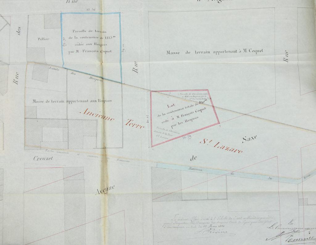 Plan d'un terrain situé à l'angle de la rue Dumoulin et de l'Av de Saxe vendu par les Hospices civils à Coquet le 30 sept 1884 par devant maitre Muguet -3e 17294 -ADR