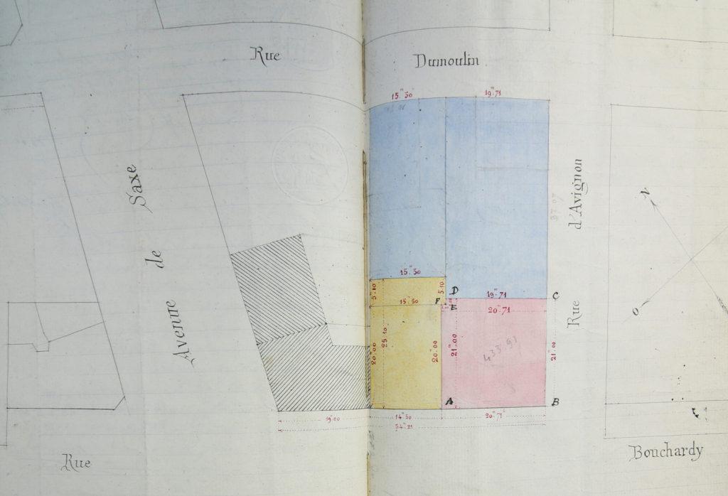 Plan d'un terrain vendu par François Coquet à Louise Loizeau épouse Montrochet en 1893 par devant maître Ferrez-3 E 16165 - ADR