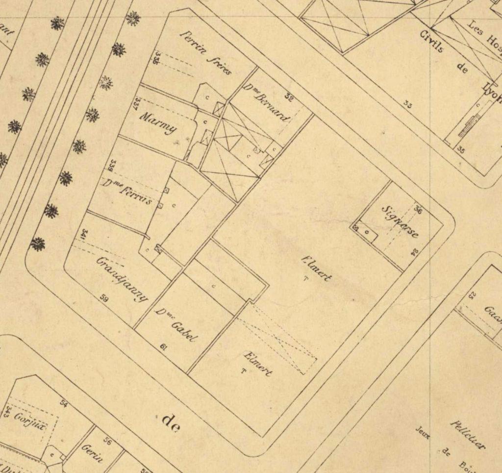 L'ilot délimité par l'Avenue Jean Jaurès (ancienne Av de Saxe prolongée), les rues Dumoulin, d'Avignon et de l'Université en 1919- Plan de ville section 249 -4S249-03- AML